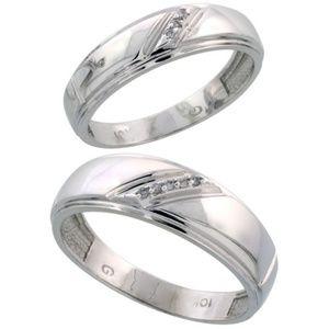 Jewelry - 10k White Gold Diamond Wedding Bands 2pc set